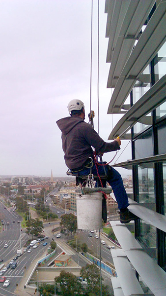 Maintaining high rise architectural features and facade cleaning