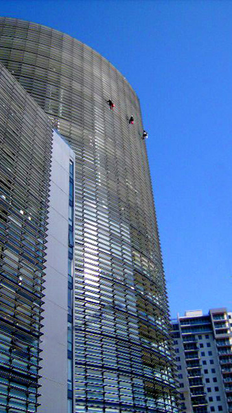 Facade and window washing on high rise residential tower